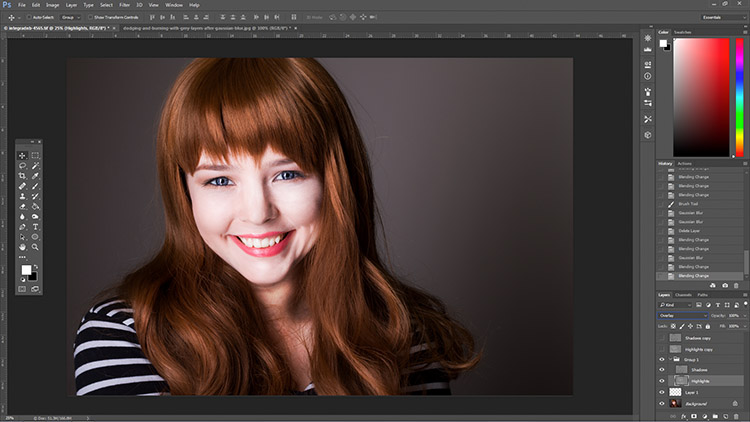 How to Enhance Portraits Using Gray Layers to Dodge and Burn in Photoshop 4