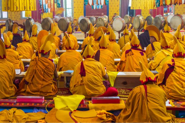 Buddhist monks in ceremony, Bhutan
