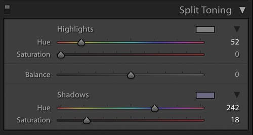 Split Tone Window in Adobe Lightroom