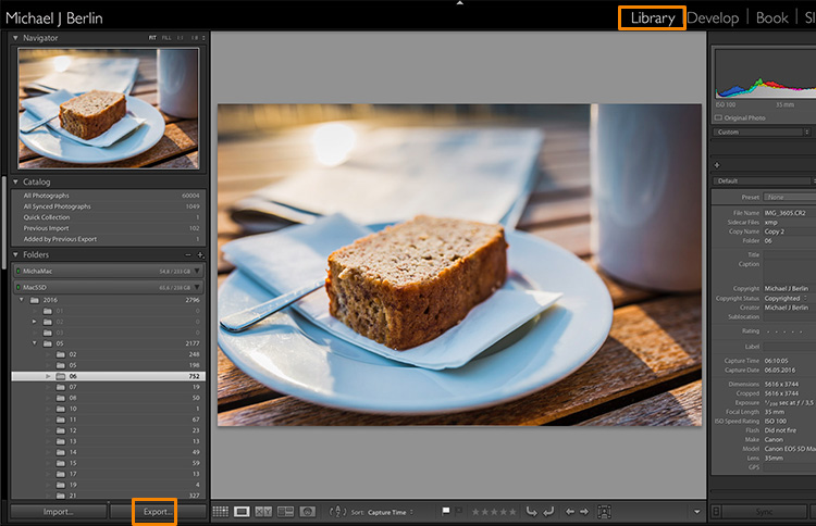 Lightroom export images
