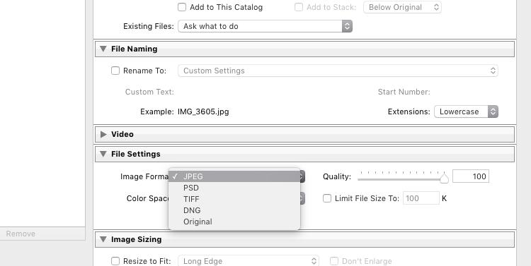 Lightroom Export 05 File Format