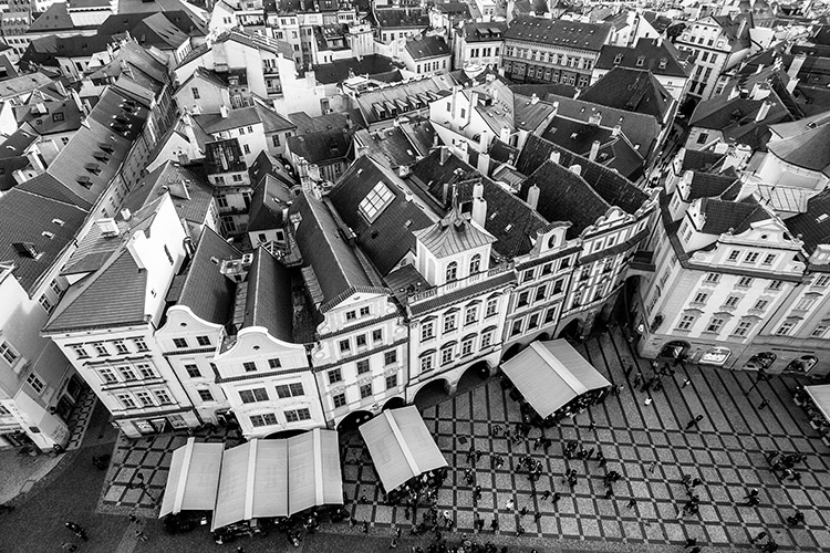 Black and White Conversion in Photoshop image of a city