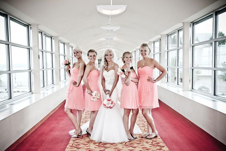 Bride bridesmaids posed wedding