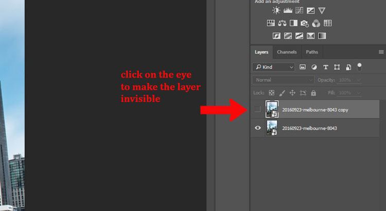 How to Make a Sketch inside a Photograph - hide layer