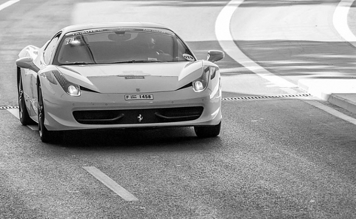 is an image during daylight of a fast car using a fast shutter speed. The amount of light available enables me to use a fast shutter speed with an ISO of 100 and a small aperture. If it was during sunset I would have needed to increase my ISO to compensate for the light.