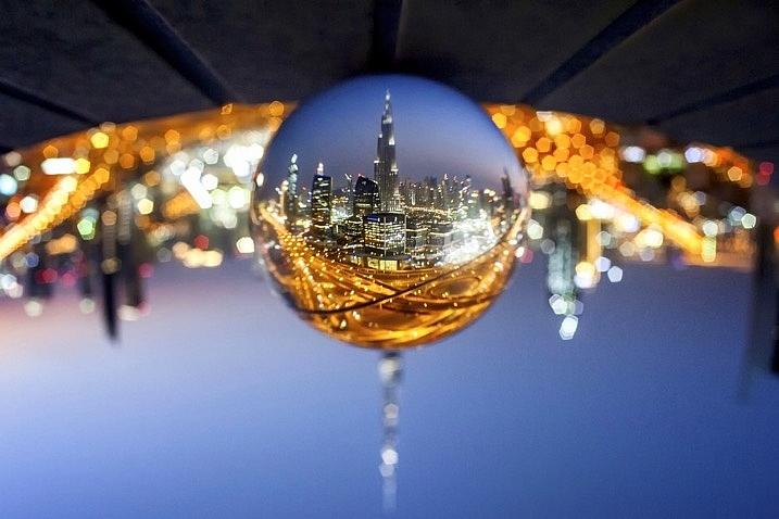 Glass ball landscape photographs