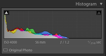 The Lightroom histogram underexposed image