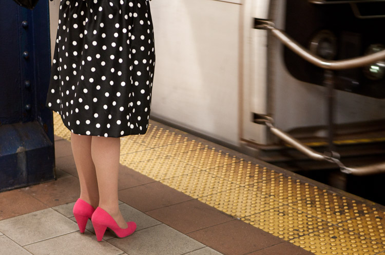 7 Vital Tips to Improve Your Candid Street Photography Polka Dots and Pink Shoes, Subway, 2012.
